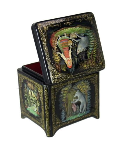 Palekh Russian Lacquer Box Little Red Riding Hood - Treasure Chest Shape #4100