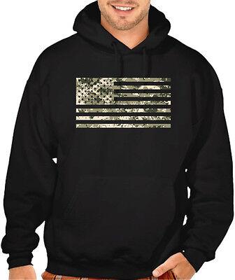 Men's Digital Camo US Flag Black Hoodie American Military Army America Sweater