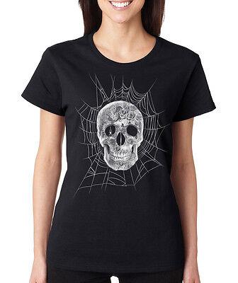 ROSES SKULL SPIDER WEB creepy horror HALLOWEEN costume skeleton Women's T-Shirt