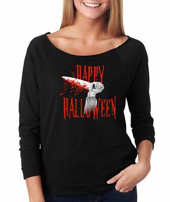 Happy Halloween Horror Movie (HAPPY HALLOWEEN michael myers bloody slasher horror movie Women's Raglan)