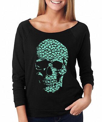 HEARTS SKULL skeleton bones Halloween costume creepy Women's Raglan T-Shirt