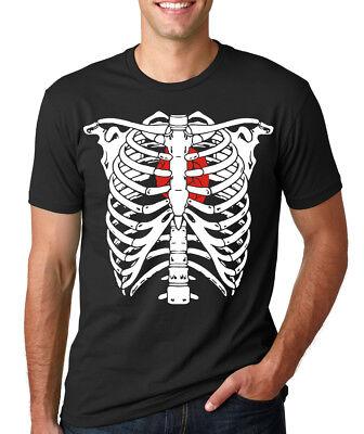 SKELETON RIB CAGE heart bones skull Halloween costume xray T-Shirt](Skeleton T Shirt Costume)