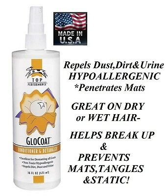 PET DOG CAT GloCOAT Grooming Dematting Spray**BREAKS UP MATS on DRY or WET HAIR