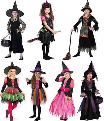 Kinder Hexe Kostüme (Hexe Hexen Halloween Kinder Karneval Fasching Kostüm 98-152)
