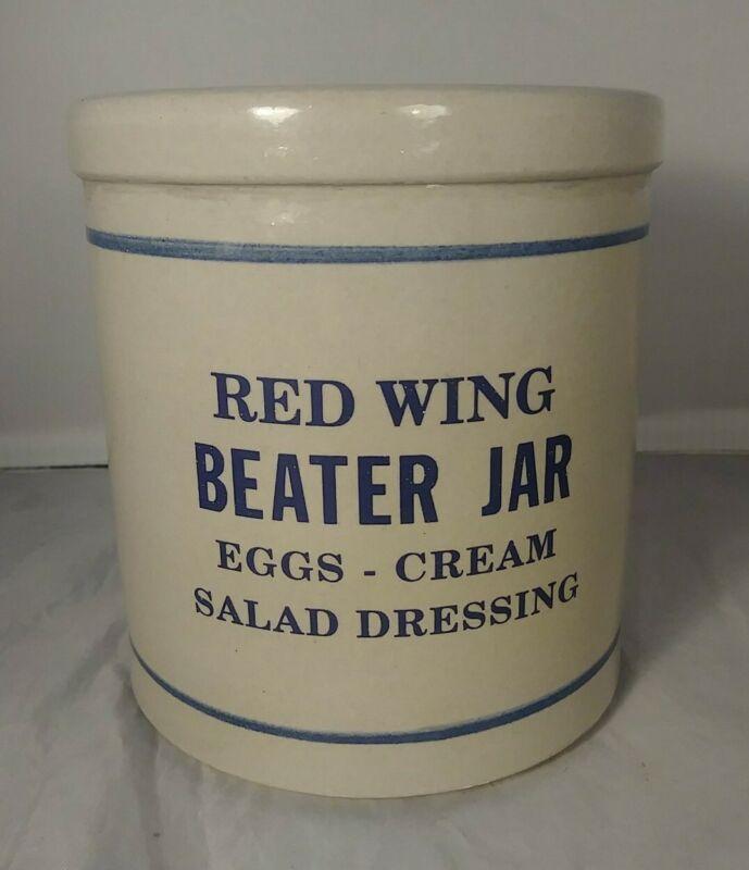 Antique Red Wing Stoneware Salt Glazed Beater Jar Crock - Nice!
