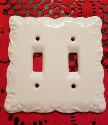 White Ceramic Porcelain Double Light Switch Wallplate Wall Plate Outlet Cover Double Outlet Wall Plate