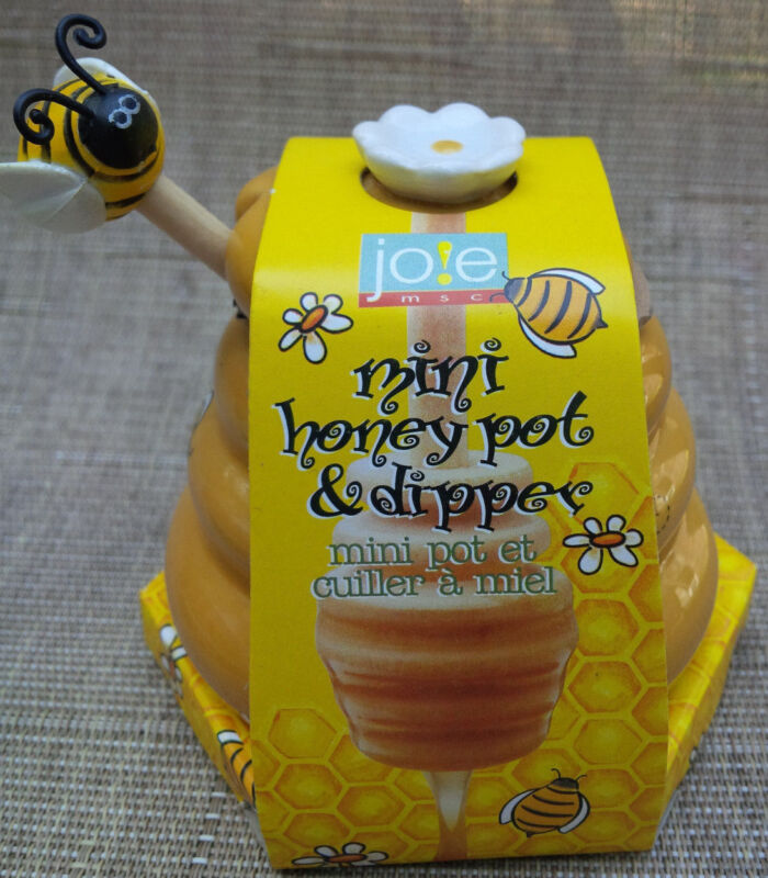 Msc Joie Mini Honey Pot and Dipper bee ceramic wood