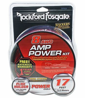 Rockford Fosgate RFK8 8 Gauge OFC Complete Amplifier Wiring Installation Amp Kit