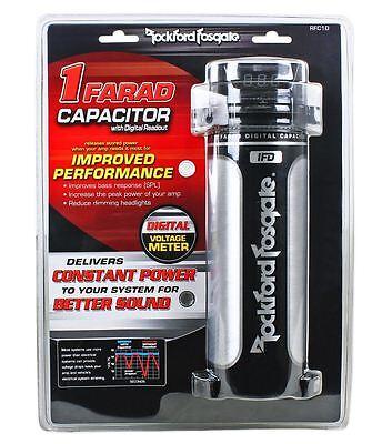 Rockford Fosgate RFC1D RFC-1D 1 Farad Digital Car Power Capacitor w/ Volt Meter