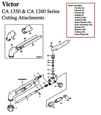 Victor Ca1350 Ca1260 Cutting Torch Large Rebuildrepair Parts Kit 0390-0009