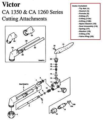 Victor Ca1350 Ca1260 Cutting Torch Large Rebuildrepair Parts Kit 0390-0009