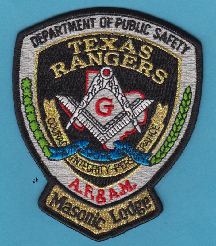 TEXAS RANGERS MASON MASONIC LODGE POLICE SHOULDER PATCH
