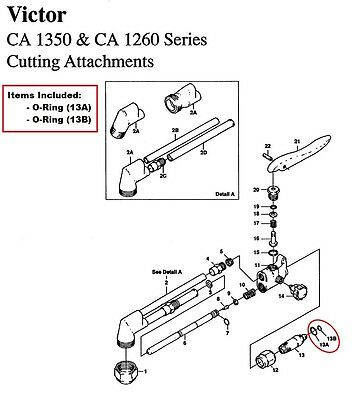 Victor Ca1350 Ca1260 Cutting Torch O-ring Rebuildrepair Kit