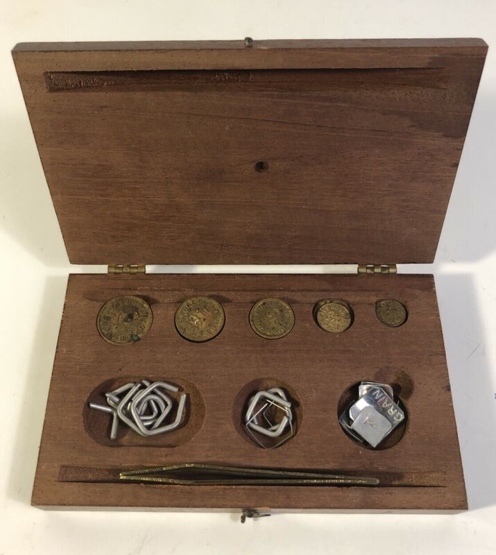 Vintage Henry Troemner Apothecary Scale Weights In Wood Box Drachms Scruples