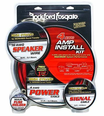 Rockford Fosgate RFK4X  4 AWG OFC Amplifier Wire Install Kit Amp Installation