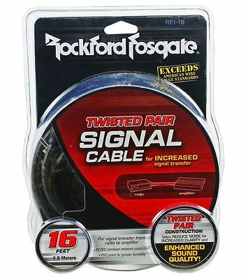 Rockford Fosgate RFI-16 RFI16 16 Foot Twisted Pair OFC Car Audio RCA Cable