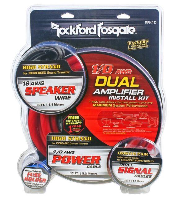 Rockford Fosgate RFK1D 1/0 Gauge Dual Amplifier/Amp OFC Wiring/Wire Install  sc 1 st  eBay : 0 gauge amp wiring kit - yogabreezes.com