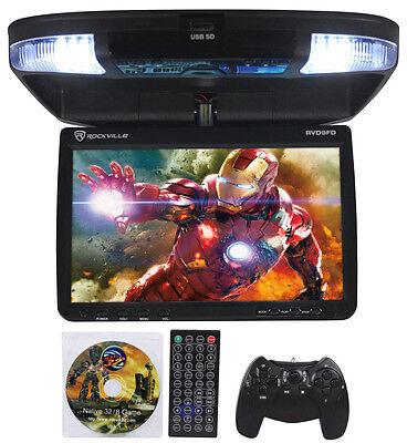 "Rockville RVD9FD-BK 9"" TFT Black Flip Down Car DVD Monitor w/ USB/SD/Video Games"