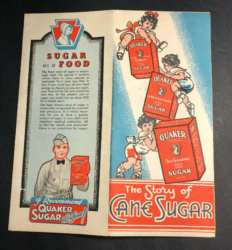 Quaker Cane Sugar Box Flyer Brochure Philadelphia Graphic C 1930