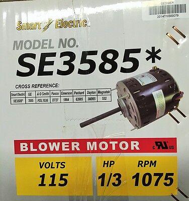 13 Hp Furnace Blower Motor Se3585 -115v-1075 Rpm-reversible-5.6 Amp New