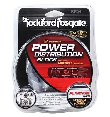 NEW ROCKFORD FOSGATE RFD4 0/1/4Gauge AWG Car Audio Distribution Block 1-In 3-Out