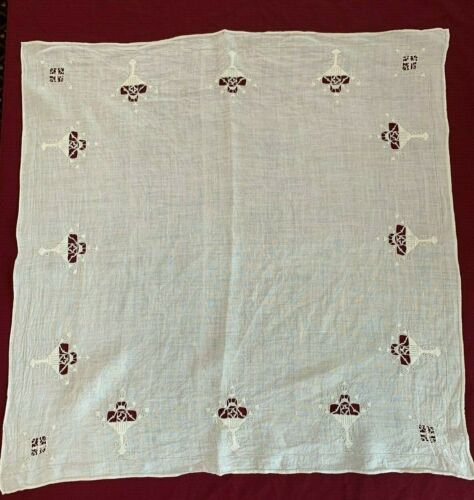 Vintage Antique Table Linen Cloth Center Cut Work Drawn Work Reticella Needle