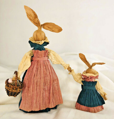 """Handmade Easter Bunny Mother and Daughter Twisted Paper Doll 8"""" x 7"""""""