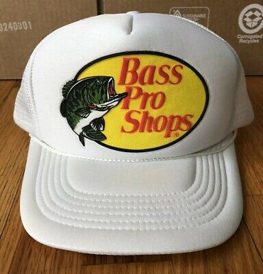 b76f1dae VTG Bass Pro Shops White Trucker Style Adjustable Snapback Baseball Hat  Outdoor