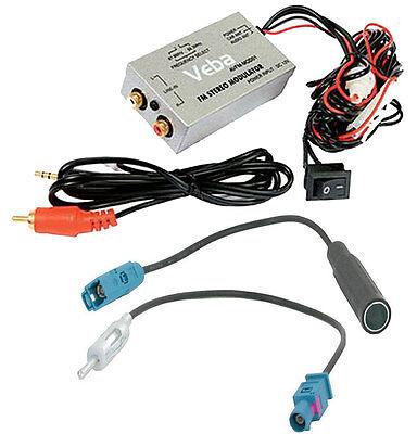 Car AUX adapter Veba FAKRA Wired FM Modulator Vauxhall Ford Audi iPod iPhone HTC