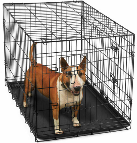 """36"""" Dog Crate 2 Kennel House for Animal Door w/Divide w/Tray Fold Metal Pet Cage"""