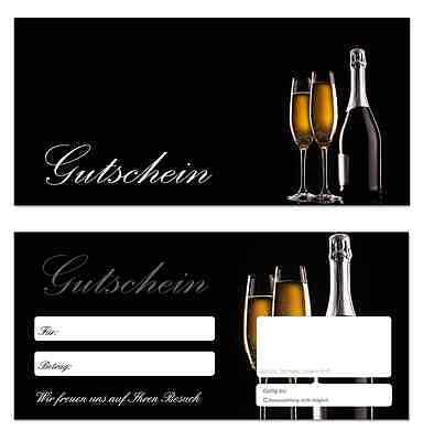 50 x Geschenkgutscheine (Sekt-650) Feier Wein Jubiläum Gastronomie Gutscheine