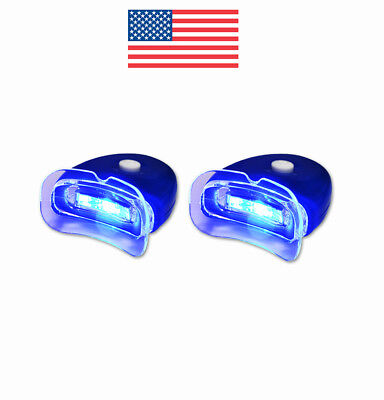 2 New Led Blue Plasma Hands Free Teeth Whitening Accelerator Light W  Batteries
