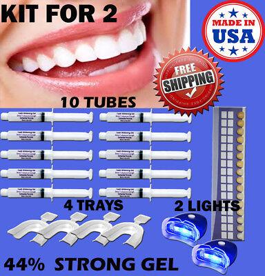 TEETH WHITENING SYSTEM 44% PEROXIDE GEL LED UV LIGHT WHITENER BLEACH 10 SYRINGES