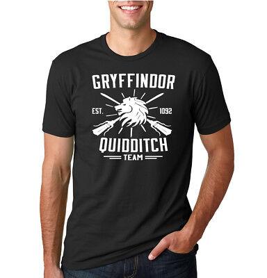 Gryffindor Quidditch Potter Fan Mens T-Shirt Graphic Movie Tee