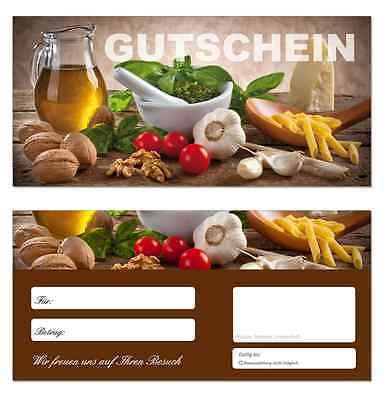 100 x Geschenkgutscheine (Küche-649) Nudeln Gastronomie Restaurant Gutscheine
