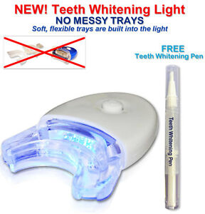 Professional Teeth Whitening Bleaching Dental Gel Kit Tooth Whitener Pen+ Light