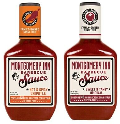 Montgomery Inn 18 oz BBQ Sauce: Hot & Spicy Chipotle or Sweet & Tangy Original (Hot Bbq Sauce)