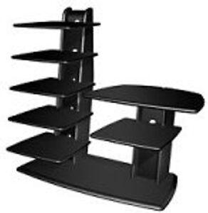 heavy duty black tech craft ww49b 32 tower tv stand lcd crt plasma led new. Black Bedroom Furniture Sets. Home Design Ideas
