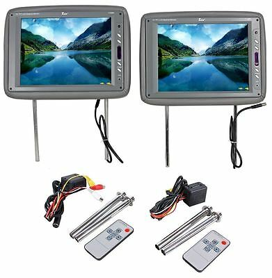 "Pair Tview T120PL-GR 12"" Gray TFT Wide Screen, High-Res Headrest Car Monitors"