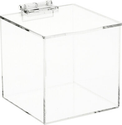 Plymor Clear Acrylic Display Case Box With Hinged Lid 4 X 4 X 4