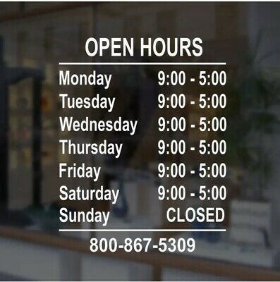 Custom Business Store Hours Vinyl Window Decal Sticker