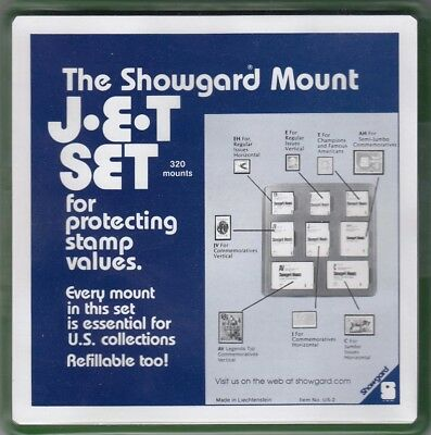 Showgard Stamp Mounts JET Set Lot US2 8 Sizes in Tray Black New w/ Free Post