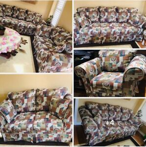 Moving sale,3 pieces sofa set,chest,ottoman and more
