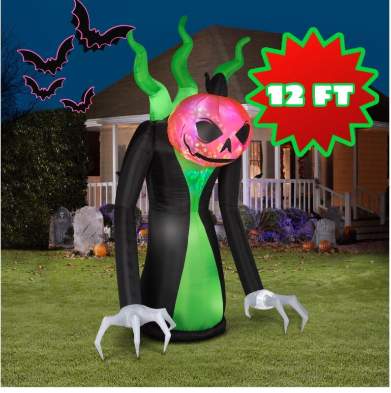 Halloween Inflatable Arching Reaper 12 ft Tall Airblown Projection Decoration