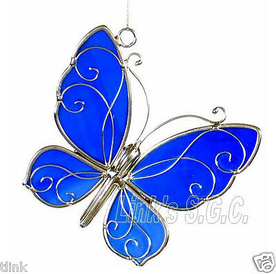 Stained Glass Blue Iridescent Butterfly Sun Catcher