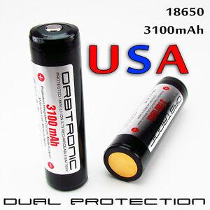 TWO-PROTECTED-PANASONIC-18650-3100mAh-Li-ion-Battery-Cells-ORBTRONIC-3100-PCB