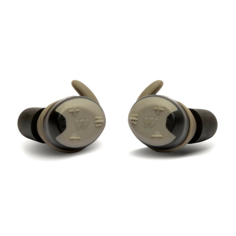Walkers Shooting Earbuds, Silencer Bluetooth Hearing Protection, Tan