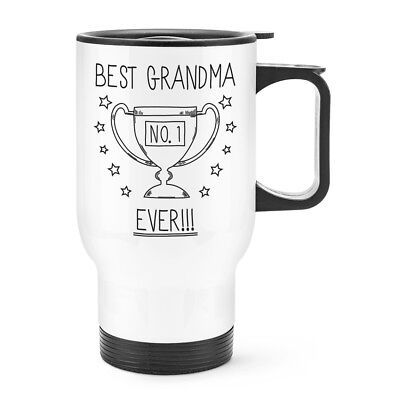 Best Grandma Ever No.1 Trophy Travel Mug Cup With Handle - Funny