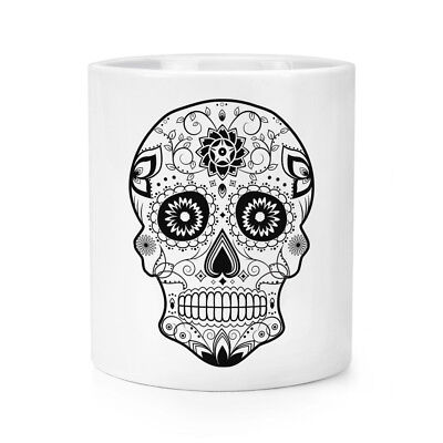 Candy Skull Make-up (Black Sugar Candy Skull Makeup Brush Pencil Pot - Funny)