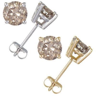 Gold Champagne Diamond Earrings - 0.30 CT Champagne Diamond Stud Earrings 14k Gold